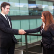 Stock Photo: Handshake between businessman and businesswoman at modern office