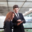 Business working with electronic tablet — Stock Photo