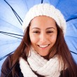 Beautiful young woman dressed with winter clothes, isolated on w — Stock Photo #14403407