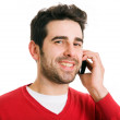 Close up portrait of an handsome man talking at the cell phone, — Stock Photo