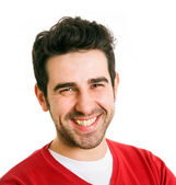 Close up portrait of young man laughing, isolated on white backg — Stock Photo