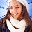Beautiful young woman dressed with winter clothes, isolated on w — Stock Photo #15873243
