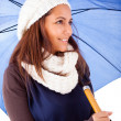 Beautiful young woman dressed with winter clothes, isolated on w — Stock Photo