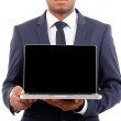 African American business man holding his laptop - isolated over — Stock Photo #15874345