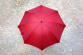 Red umbrella outdoors — Foto Stock