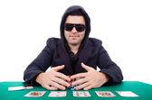 Poker player isolated on white background — ストック写真