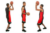 Basketball player isolated in white background — Stock Photo