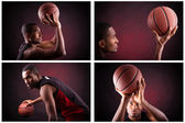Young male basketball player against black background — Stock Photo