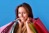 Portrait of a smiling beautiful young woman holding shopping bag — Stock Photo