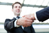 Image of business handshake at the office — Stock Photo