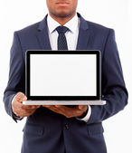 African American business man with a laptop computer isolated ov — Stock Photo