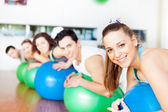Group of in a class of Pilates at the gym — Stock Photo