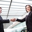 Stock Photo: Handshake between business partners at modern office