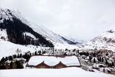 Tipical winter holiday houses in Swiss alps, Switzerland — Stock Photo
