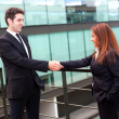 Business partners shaking hands in meeting hall — Stock Photo #24349447