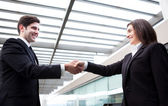 Handshake between business at modern office — Stock Photo