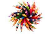 Spiral of color pencils on white background — Stock Photo