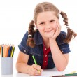 Cute child draw with colorful crayons and smile, isolated over w — Stock Photo