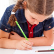 Stock Photo: Cute child draw with colorful crayons, isolated over white