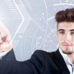 Businessman touch digital virtual screen — Stock Photo