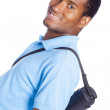 African American student thumbs up - isolated over a white backg — Stock Photo