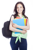 Happy smiling female student carrying notebooks, isolated on whi — Stock Photo