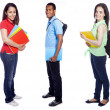 Group of college students on white background — Stock Photo