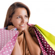 Portrait of a happy smiling woman carrying shopping bags, isolat — Stock Photo