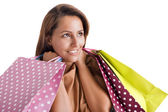 Portrait of a happy smiling woman carrying shopping bags, isolat — Stok fotoğraf