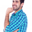 Portrait of a handsome latin man smiling, isolated over a white — Stock Photo
