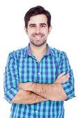 一个英俊的拉丁男人微笑,被隔绝的白色的肖像 — 图库照片