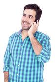 красивый мужчина, говорить на мобильный телефон — Стоковое фото
