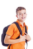 Portrait of a school boy with backpack, isolated on white backgr — Stock Photo