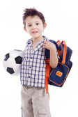 School kid holding soccer ball — Stock Photo