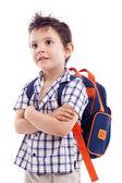 Pensive school kid looking up — Stock Photo