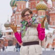 Happy woman on Red Square — Stock Photo
