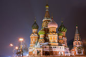 View of St. Basil's Cathedral at night — Stockfoto