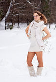Cheerful Caucasian Young Woman in Snowy Weather — Stock Photo