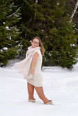 Cheerful Caucasian Young Woman posing in Snowy Winter — Stock Photo