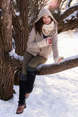 Christmas girl, young beautiful smile, wearing woolen hood. — Stock Photo