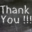 Thank You handwritten with white chalk on a blackboard. — Foto de Stock