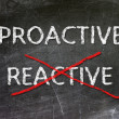 Proactive and Reactive  handwritten with white chalk on a blackboard. — Stok fotoğraf