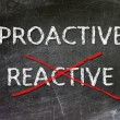 Stock Photo: Proactive and Reactive handwritten with white chalk on blackboard.