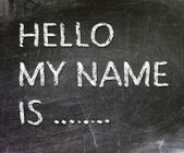 Hello My Name is .. handwritten with white chalk on a blackboard. — Stockfoto