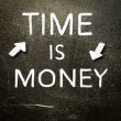 Stock Photo: Time is money handwritten with white chalk on a dark background