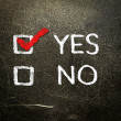 Yes or no written on the blackboard with white chalk. Your choice as a concept. — Stock Photo
