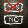 Yes or no written on the blackboard with white chalk. Your choice as a concept. — Stock Photo #19402031