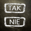 Royalty-Free Stock Photo: Tak or nie written on the blackboard with white chalk. Your choice as a concept.