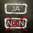 Ja or nein written on the blackboard with white chalk. Your choice as a concept. — Stock Photo