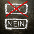 Ja or nein written on the blackboard with white chalk. Your choice as a concept. — Stock Photo #19402519